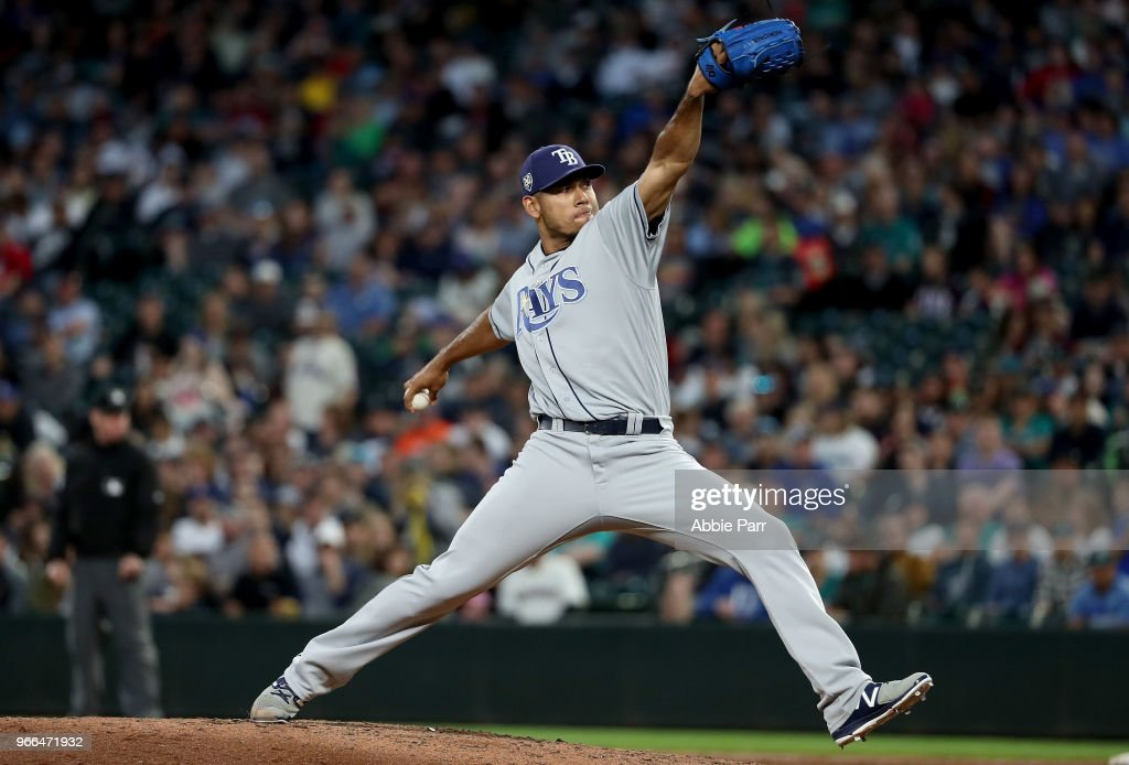 Wilmer Font #62 of the Tampa Bay Rays pitches against the Seattle Mariners in the sixth inning during their game at Safeco Field on June 2, 2018 in Seattle, Washington.