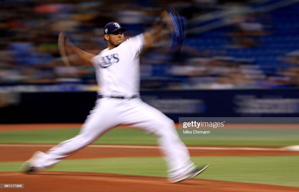 Wilmer Font #62 of the Tampa Bay Rays pitches during a game against the Houston Astros at Tropicana Field on June 29, 2018 in St Petersburg, Florida.