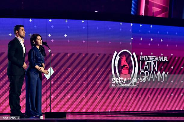 Wilmer Valderrama and Alessia Cara speak onstage during The 18th Annual Latin Grammy Awards at MGM Grand Garden Arena on November 16 2017 in Las...