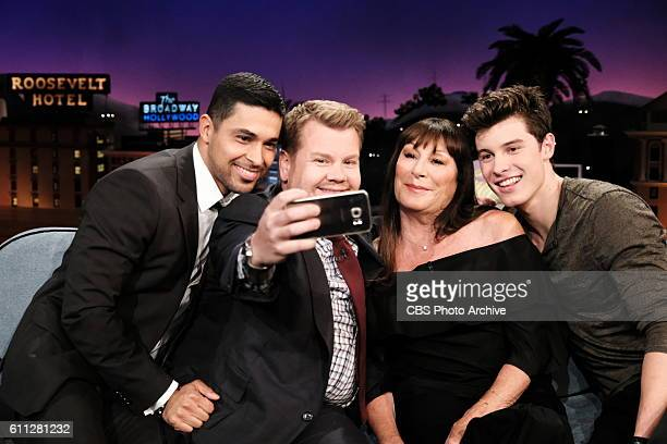 Wilmer Valderrama Anjelica Huston and Shawn Mendes chat with James Corden during The Late Late Show with James Corden Wednesday Sept 28 On The CBS...