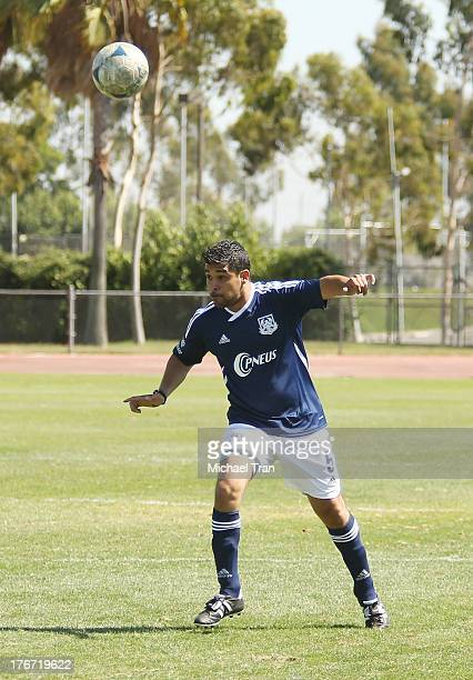 Wilmer Valderrama plays soccer at The Jonas Brothers host a charity soccer match held at StubHub Center track and field on August 17 2013 in Los...