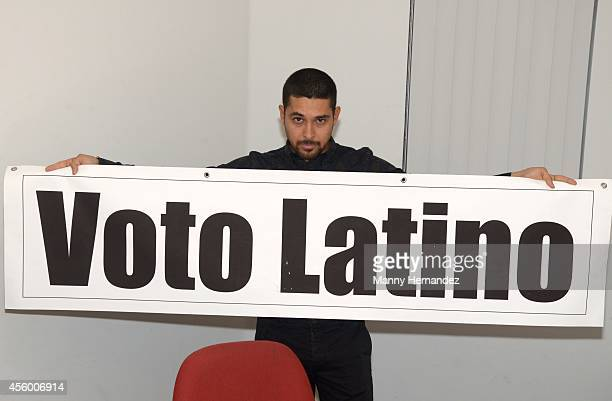 Wilmer Valderrama with Voto Latino promotes National Voter Registration Day at Miami Dade College at Miami Dade College on September 23 2014 in Miami...