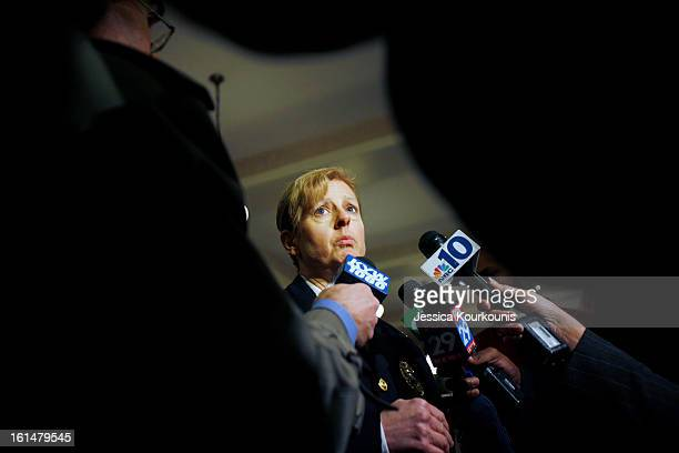 Wilmington Delaware Police Chief Christine Dunning speaks to the media following a roundtable discussion with US Vice President Joseph Biden and law...