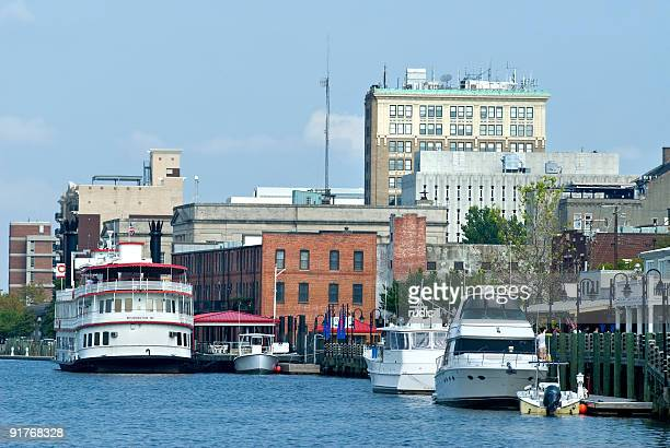 wilmington, nc from cape fear river - wilmington north carolina stock photos and pictures
