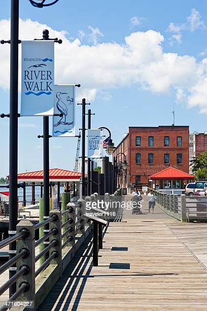wilmington, north carolina, usa river walk - wilmington north carolina stock photos and pictures