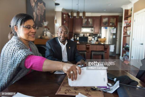 Wilmot Collins the newly elected Mayor of Helena Montana at home with his wife Maddie going over stacks of mail that he has received since his...