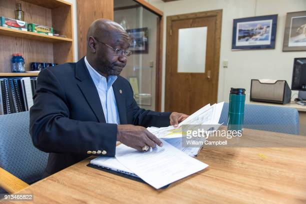 Wilmot Collins the newly elected Mayor of Helena Montana prepares for a meeting during his first month in office Wilmot Collins is a former Liberian...
