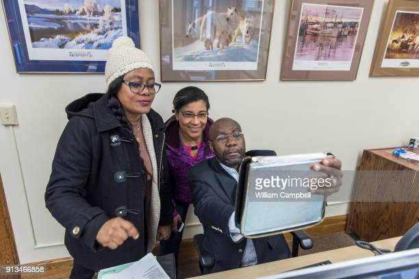 Wilmot Collins the newly elected Mayor of Helena Montana takes a selfie with his wife Maddie and his sister Precious who is visiting from Liberia...