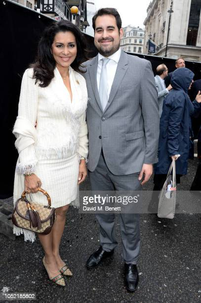 Wilnelia Merced and Jonathan Joseph Forsyth attend the unveiling of the London Palladium's 'Wall Of Fame' hosted by Lord Andrew Lloyd Webber and Lady...
