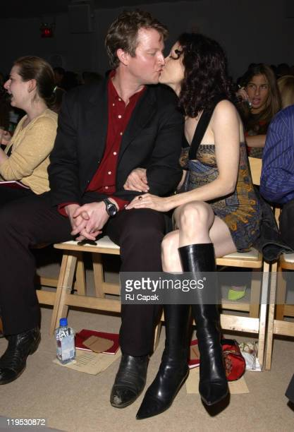 CJ Wilson and Bebe Neuwirth during MercedesBenz Fashion Week Spring 2004 Vivienne Tam Front Row at Bryant Park in New York City NY United States