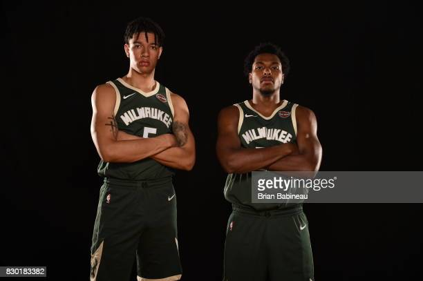 Wilson and Sterling Brown of the Milwaukee Bucks poses for a photo during the 2017 NBA Rookie Photo Shoot at MSG training center on August 11 2017 in...