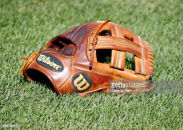 Wilson baseball glove is shown before the game between the Pittsburgh Pirates and the Washington Nationals at PNC Park on July 24 2015 in Pittsburgh...