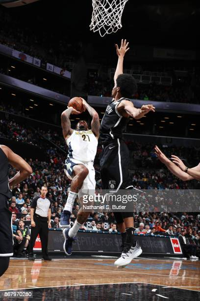Wilson Chandler of the Denver Nuggets drives to the basket against the Brooklyn Nets on October 29 2017 at Barclays Center in Brooklyn New York NOTE...