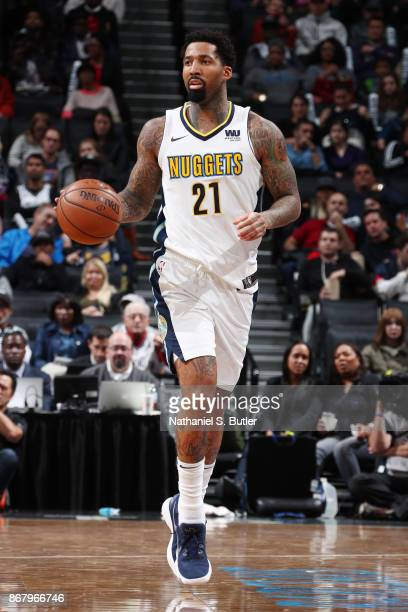 Wilson Chandler of the Denver Nuggets handles the ball against the Brooklyn Nets on October 29 2017 at Barclays Center in Brooklyn New York NOTE TO...