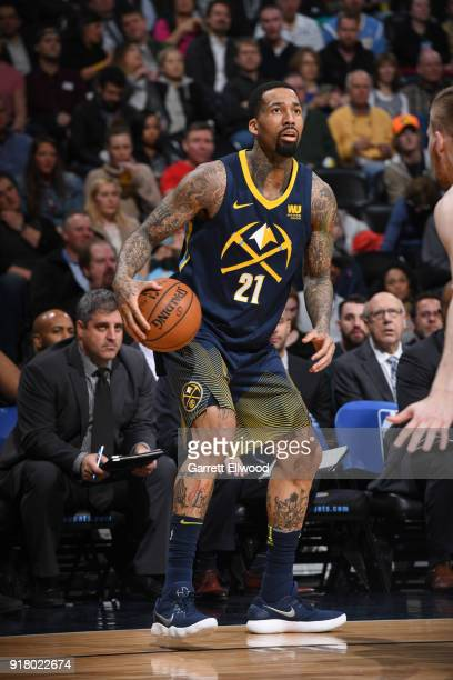 Wilson Chandler of the Denver Nuggets handles the ball against the San Antonio Spurs on February 13 2018 at the Pepsi Center in Denver Colorado NOTE...