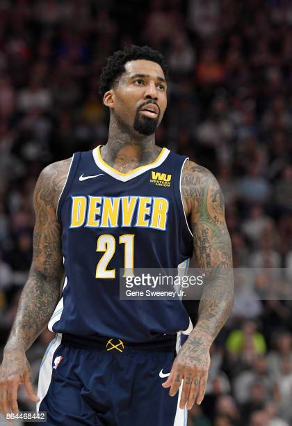 Wilson Chandler of the Denver Nuggets looks at a replay during their game against the Utah Jazz at Vivint Smart Home Arena on October 18 2017 in Salt...