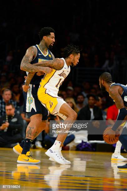Wilson Chandler of the Denver Nuggets plays against Brandon Ingram of the Los Angeles Lakers on November 19 2017 at STAPLES Center in Los Angeles...