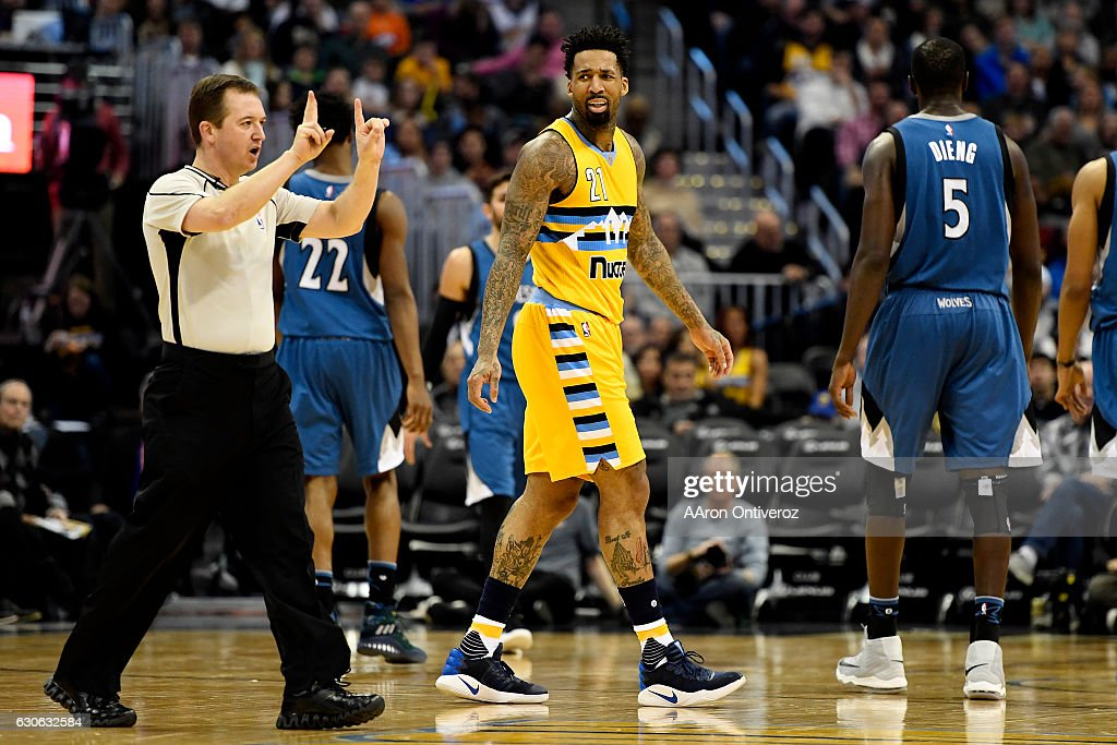 Wilson Chandler (21) of the Denver Nuggets reacts to a foul call as he and his team play the Minnesota Timberwolves during the second half of the Nuggets' 105-103 win. The Denver Nuggets hosted the Minnesota Timberwolves on Wednesday, December 28, 2016.
