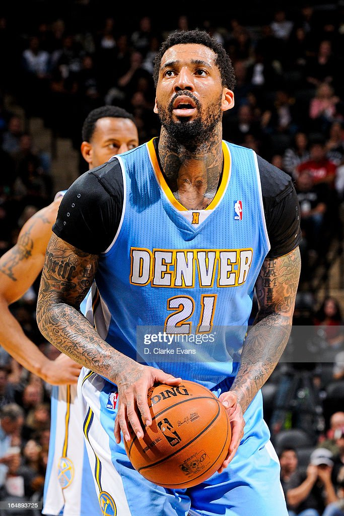 Wilson Chandler #21 of the Denver Nuggets shoots a free-throw against the San Antonio Spurs on March 27, 2013 at the AT&T Center in San Antonio, Texas.