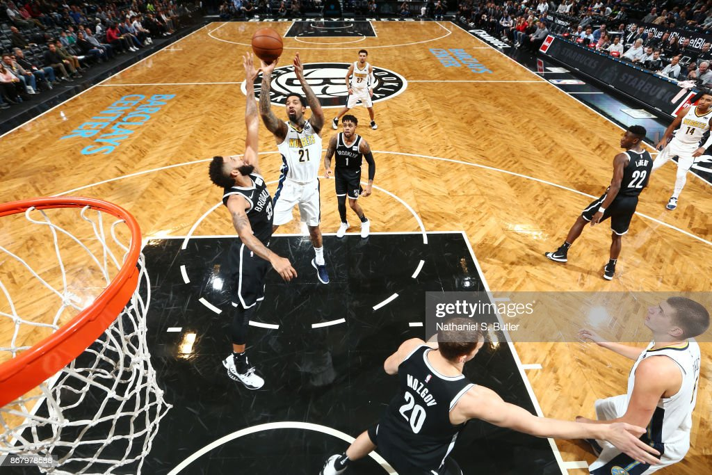 Wilson Chandler #21 of the Denver Nuggets shoots the ball against the Brooklyn Nets on October 29, 2017 at Barclays Center in Brooklyn, New York.