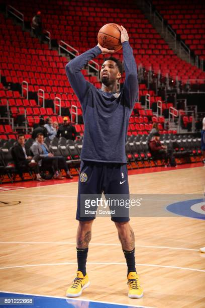 Wilson Chandler of the Denver Nuggets shoots the ball before the game against the Detroit Pistons on December 12 2017 at Little Caesars Arena in...
