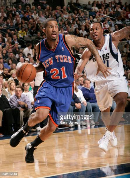 Wilson Chandler of the New York Knicks drives against Antoine Wright of the Dallas Mavericks on January 8 2009 at the American Airlines Center in...