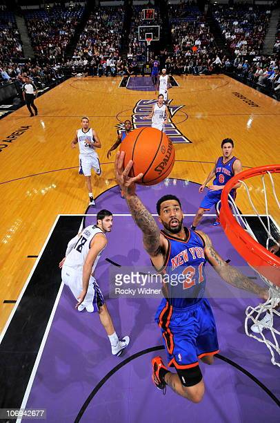 Wilson Chandler of the New York Knicks gets to the basket against the Sacramento Kings on November 17 2010 at ARCO Arena in Sacramento California...