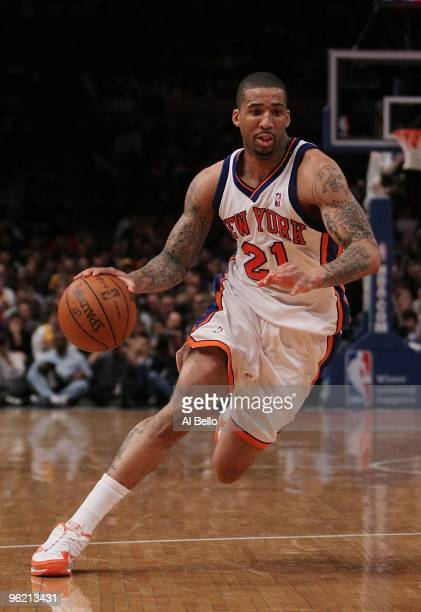 Wilson Chandler of the New York Knicks in action against the Los Angeles Lakers during their game at Madison Square Garden on January 22 2010 in New...