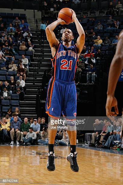 Wilson Chandler of the New York Knicks shoots a jumper during the game against the Memphis Grizzlies on November 12, 2008 at the FedExForum in...