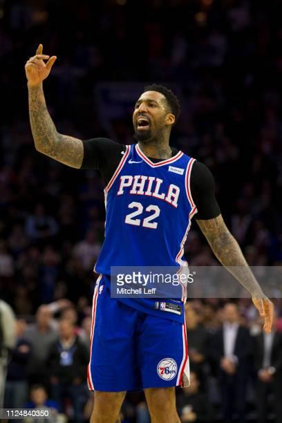 Wilson Chandler of the Philadelphia 76ers reacts against the San Antonio Spurs at the Wells Fargo Center on January 23 2019 in Philadelphia...