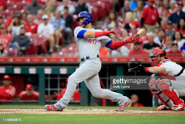 Wilson Contreras of the Chicago Cubs hits a two run double in the first inning against the Cincinnati Reds at Great American Ball Park on May 16 2019...