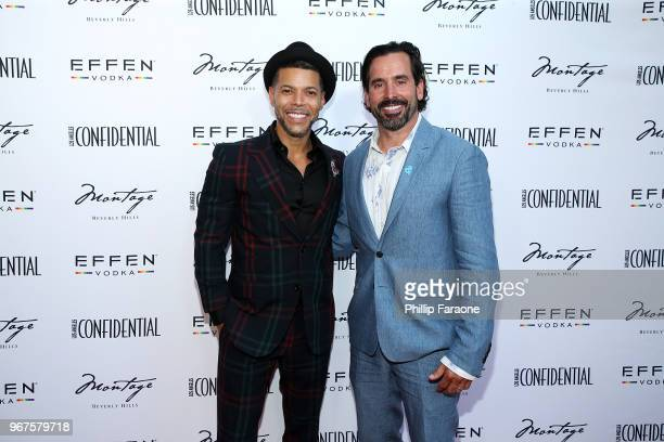 Wilson Cruz and Chris Gialanella attend the Los Angeles Confidential Celebration for Portraits of Pride with GLAAD and Laverne Cox on June 4 2018 in...