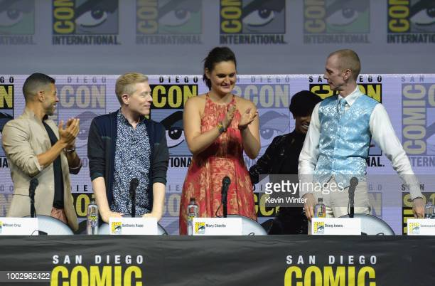 Wilson Cruz Anthony Rapp Mary Chieffo and Doug Jones speak onstage at the 'Star Trek Discovery' panel during ComicCon International 2018 at San Diego...