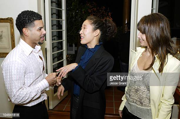 Wilson Cruz Sandra Oh and Gina Gershon during Outfest Celebrates Gay Hollywood at The home of Paul Colichman in Bel Air California United States
