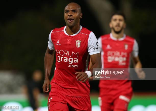 Wilson Eduardo of SC Braga celebrates after scoring a goal during the Liga NOS match between Belenenses SAD and SC Braga at Estadio Nacional on...
