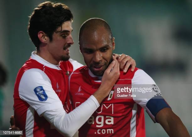 Wilson Eduardo of SC Braga celebrates with teammate Francisco Trincao of SC Braga after scoring a goal during the Portuguese League Cup match between...