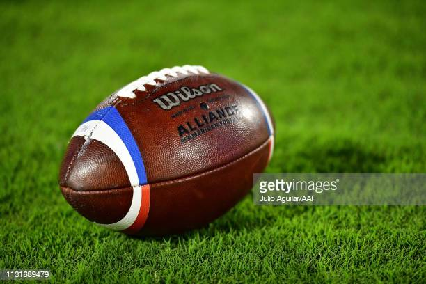 Wilson football is seen on the field before the Memphis Express take on the Orlando Apollos during the Alliance of American Football game on February...
