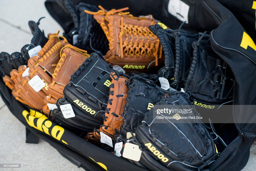 Wilson gloves are shown of the Boston Red Sox during a team workout on February 21, 2018 at jetBlue Park at Fenway South in Fort Myers, Florida .
