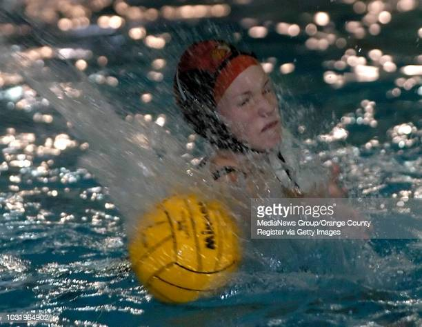 2/11/05 Wilson goalie Amanda Hardy misses blocking a shot against Los Alamitos during their game at the Belmont Olympic Pool in Long Beach Calif on...
