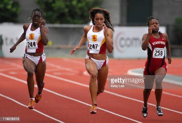 Wilson High graduate Carol Rodriguez center leads a 12 USC sweep in the women's 200 meters with Jessica Onyepunuka left in the NCAA West Regional...