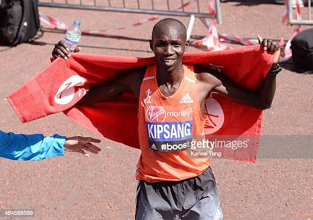 Wilson Kipsang celebrates after winning the Men's Elite race at the Virgin London Marathon on April 13 2014 in London England