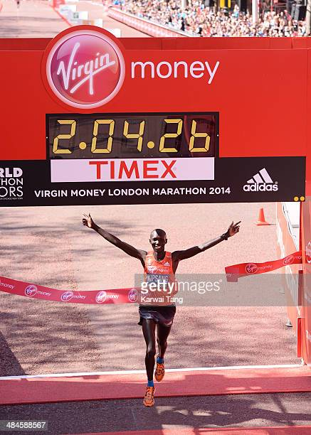 Wilson Kipsang crosses the finish line after winning the Men's Elite race at the Virgin London Marathon on April 13 2014 in London England