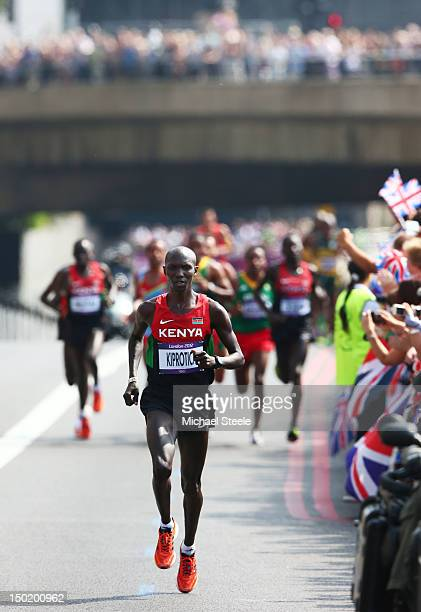 Wilson Kipsang Kiprotich of Kenya competes in the Men's Marathon on Day 16 of the London 2012 Olympic Games on the streets of London on August 12...