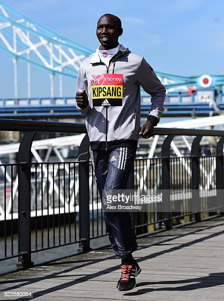 Wilson Kipsang of Kenya attends a photocall ahead of the Virgin Money London Marathon at The Tower Hotel on April 20 2016 in London England