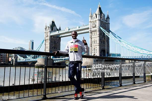 Wilson Kipsang of Kenya attends the photocall for the elite men ahead of Sunday's Virgin Money London Marathon next to Tower Bridge on April 20 2016...