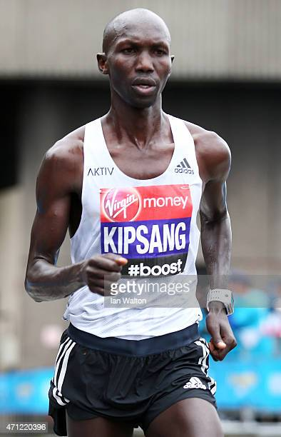 Wilson Kipsang of Kenya competes during the Virgin Money London Marathon on April 26 2015 in London England