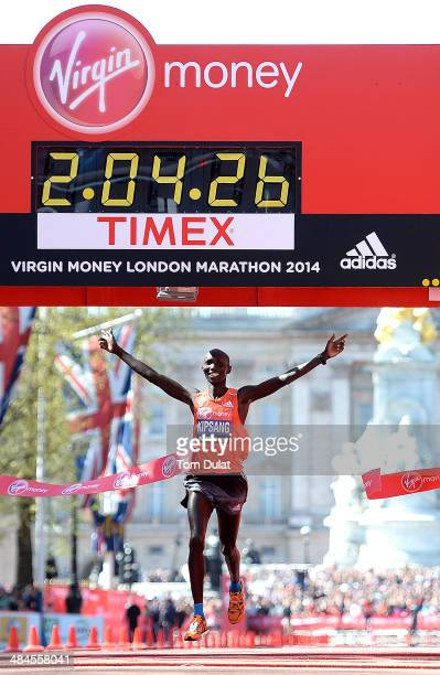 Wilson Kipsang of Kenya crosses the finish line to win the men's elite race at the Virgin London Marathon on April 13 2014 in London England