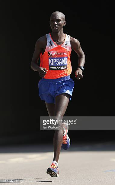 Wilson Kipsang of Kenya in action in the Mens Elite section during the Virgin London Marathon 2013 on April 21 2013 in London England