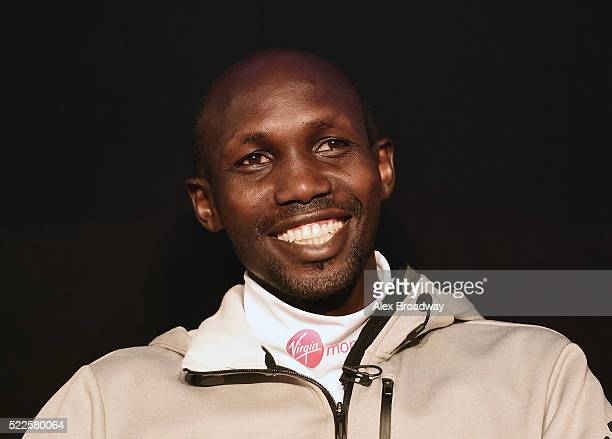 Wilson Kipsang of Kenya smiles during a press conference ahead of the Virgin Money London Marathon at The Tower Hotel on April 20 2016 in London...