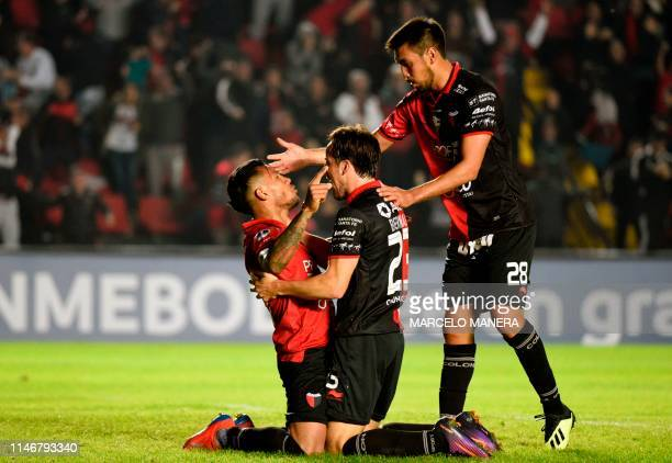 Wilson Morelo of Argentina's Colon Santa Fe celebrates after scoring against Uruguay's River Plate during their Copa Sudamericana football match in...